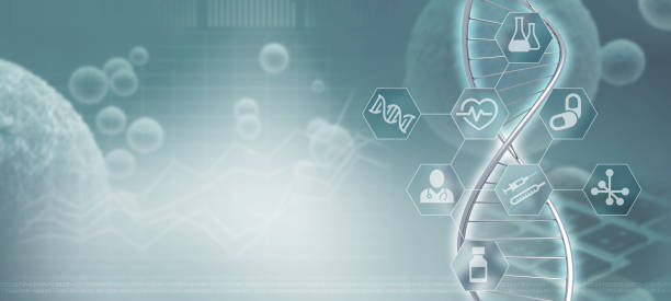 DNA helix background stock photo