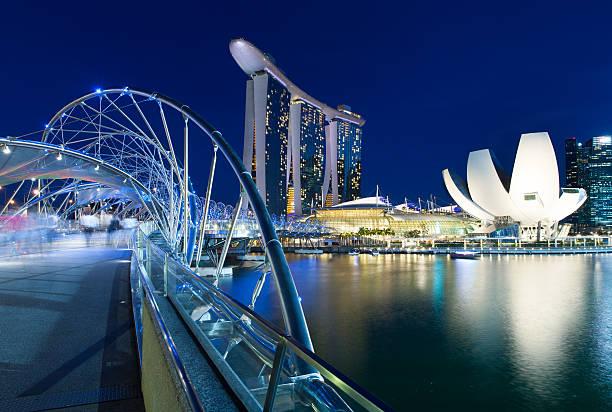 Helix Bridge in the centre of Singapore stock photo