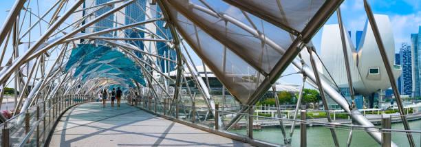 helix bridge or dna bridge in singapore - singapore nature stock photos and pictures