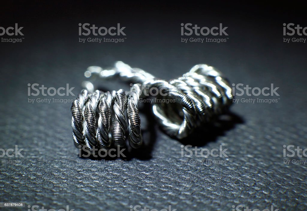 Helix coil build for vaping rebuildable atomizer stock photo