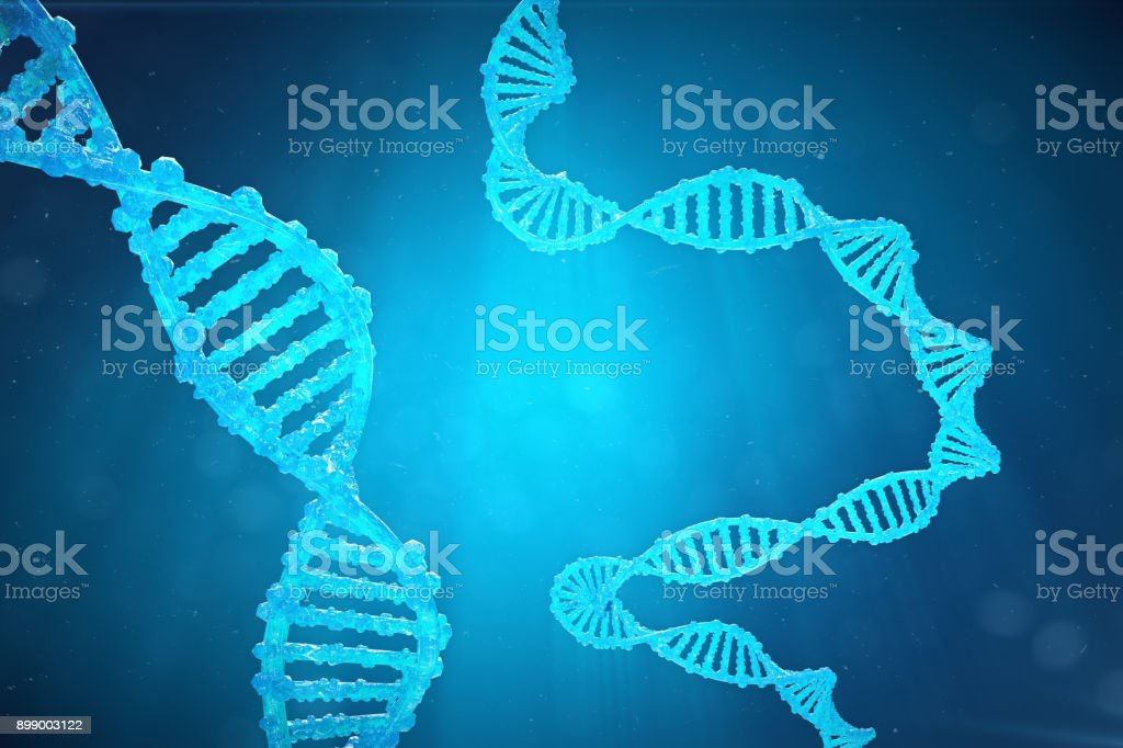 Helix DNA molecule with modified genes. Correcting mutation by genetic engineering. Concept Molecular genetics. 3d illustration stock photo