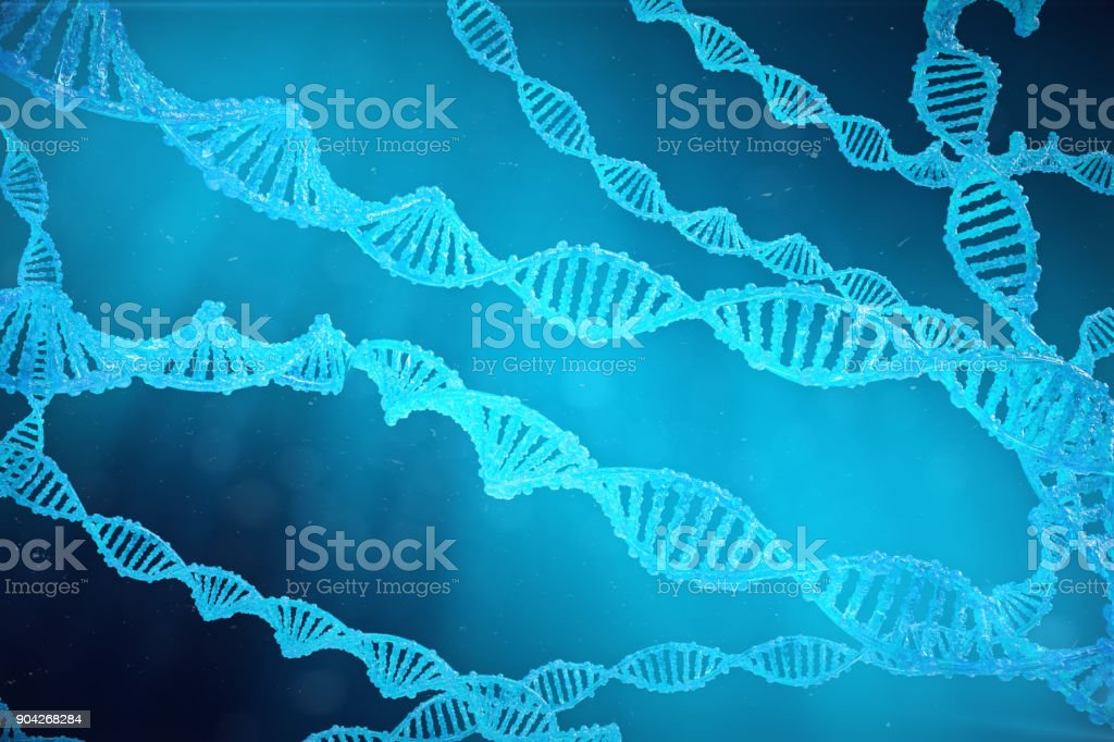 Helix DNA molecule with modified genes. Correcting mutation by genetic engineering. Concept Molecular genetics, 3d illustration stock photo