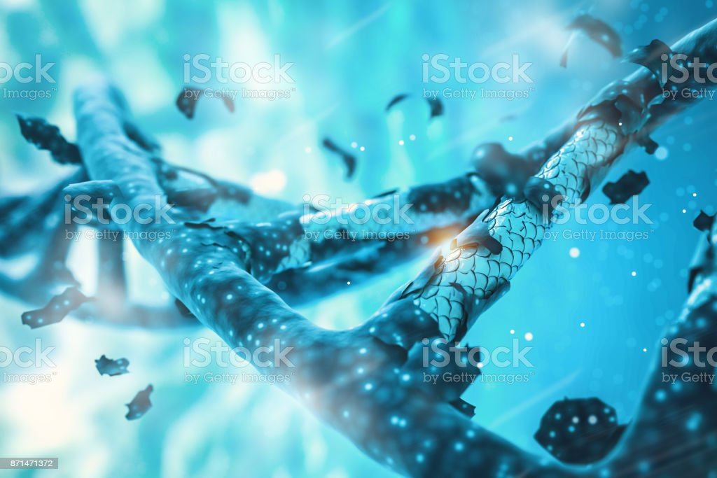 DNA helix, DNA strand, genome gene editing, helix decomposing, genome concept gene CRISPR stock photo