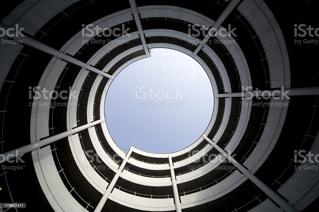 helix into the sky - modern staircase XL stock photo