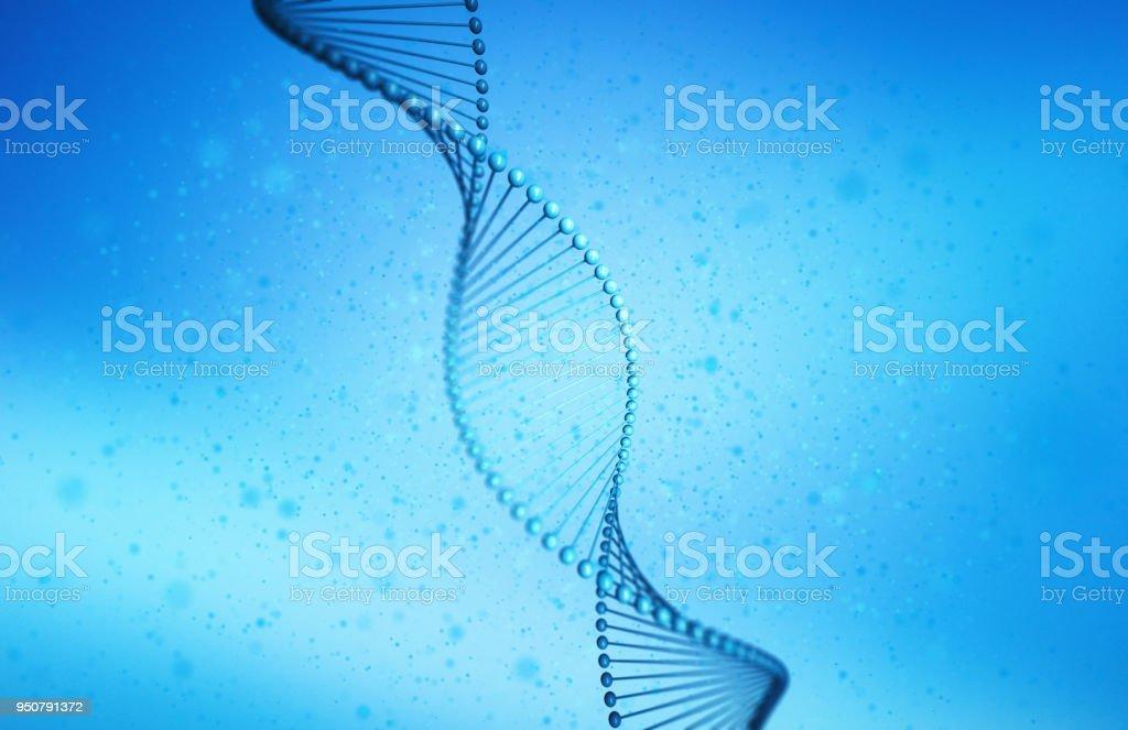 ADN, modelo helix en salud y medicina en el concepto de tecnología sobre fondo azul, Ilustración 3d foto de stock libre de derechos