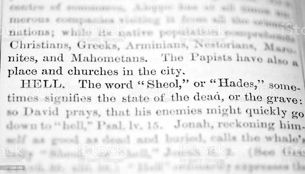 Hell as per the Holy Bible Dictionary royalty-free stock photo