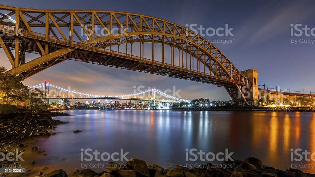 Hell Gate and Triboro bridge by night stock photo