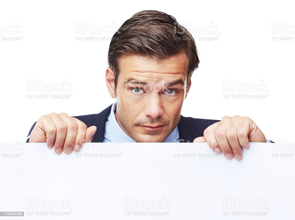 He'll hold up your message royalty-free stock photo