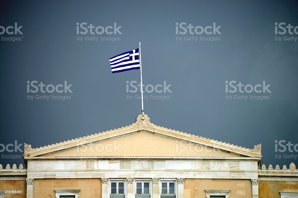 Hellenic Parliament in Greece, Athens stock photo