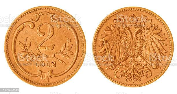 heller 1912 coin isolated on white background, Austria