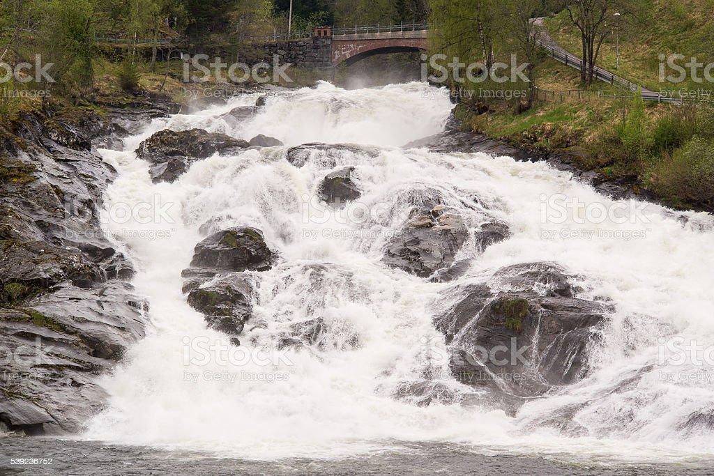 Hellesylt Waterfall, Norway. royalty-free stock photo