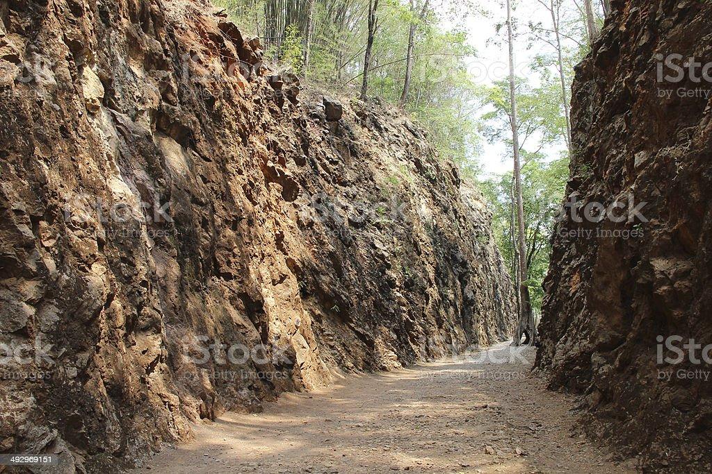 Hellfire Pass, railway cutting by prisoner of war Kanchanaburi, stock photo