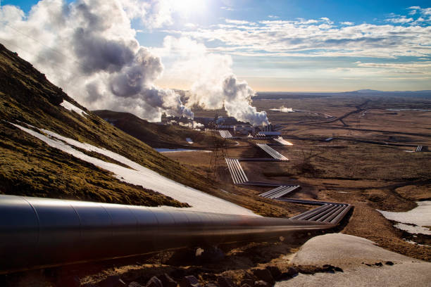 hellisheidi power plant in spring - hot spring stock photos and pictures