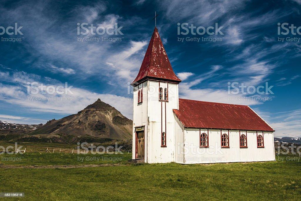 Hellnar Church, Snaefellsnes, Iceland stock photo