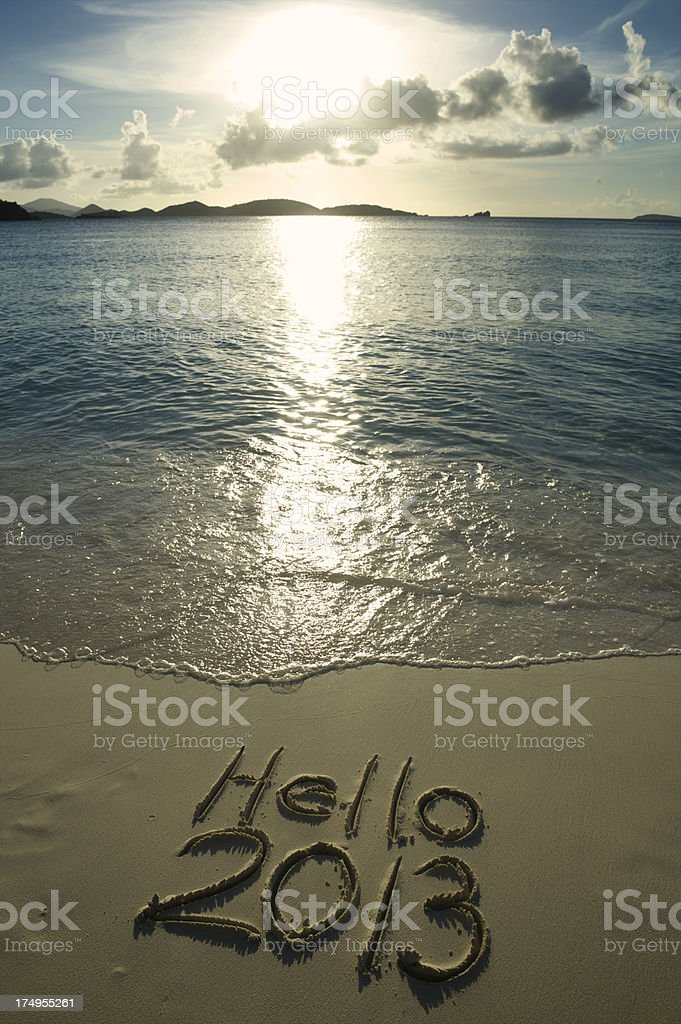 Hello 2013 Message on Bright Tropical Beach royalty-free stock photo