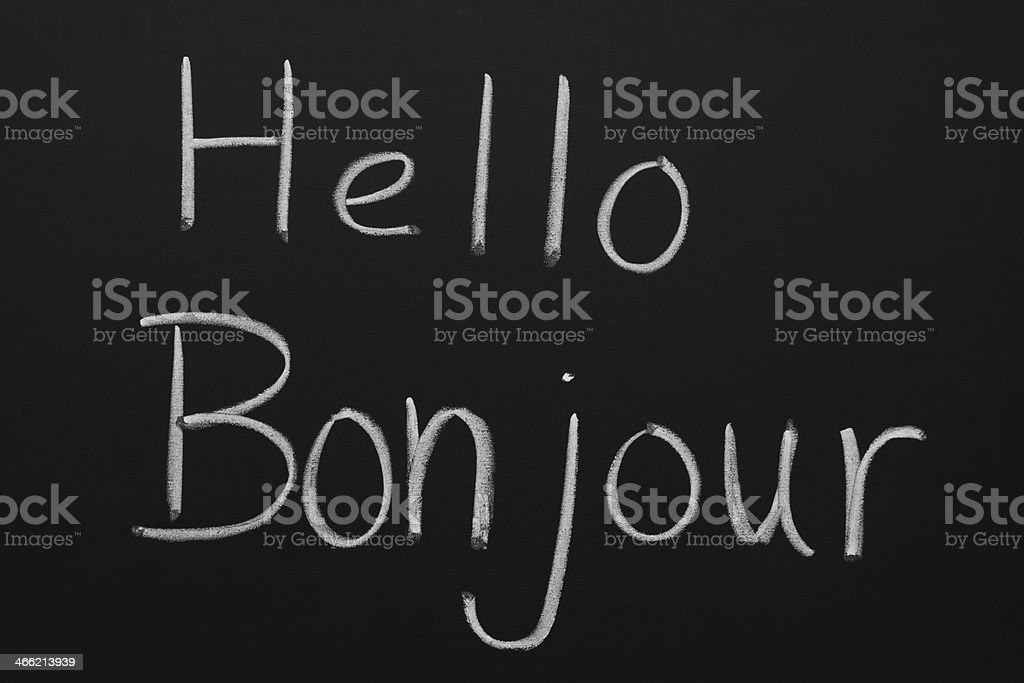 Hello and Bonjour royalty-free stock photo