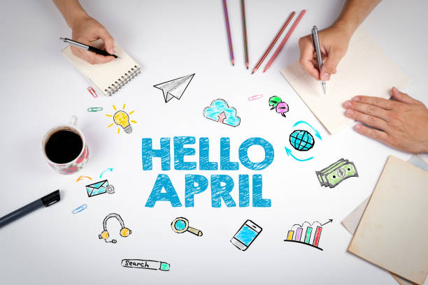 hello april, business concept. the meeting at the white office table - welcome march stock photos and pictures