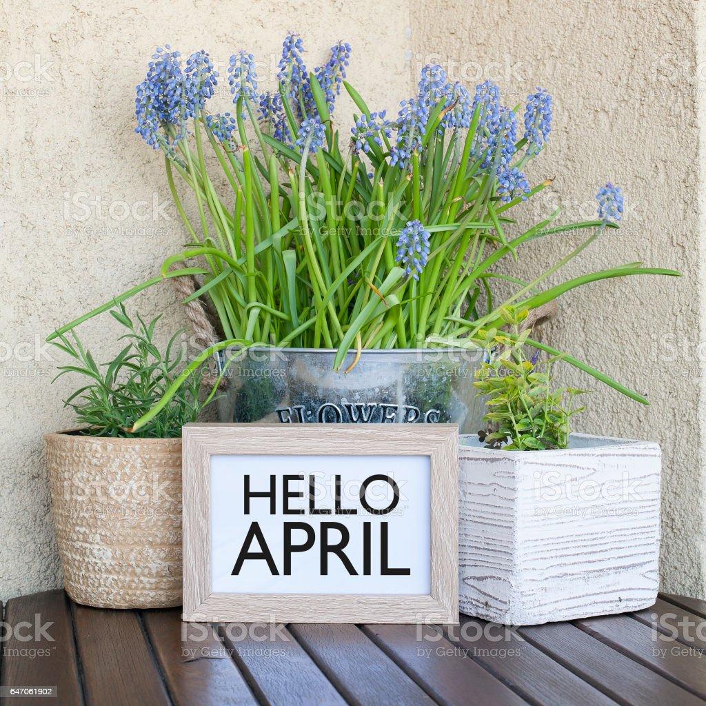 Hello April stock photo