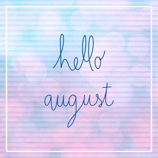 hallo august schriftzug mit bokeh licht - rosa zitate stock-fotos und bilder