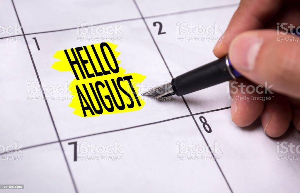 Hello August stock photo