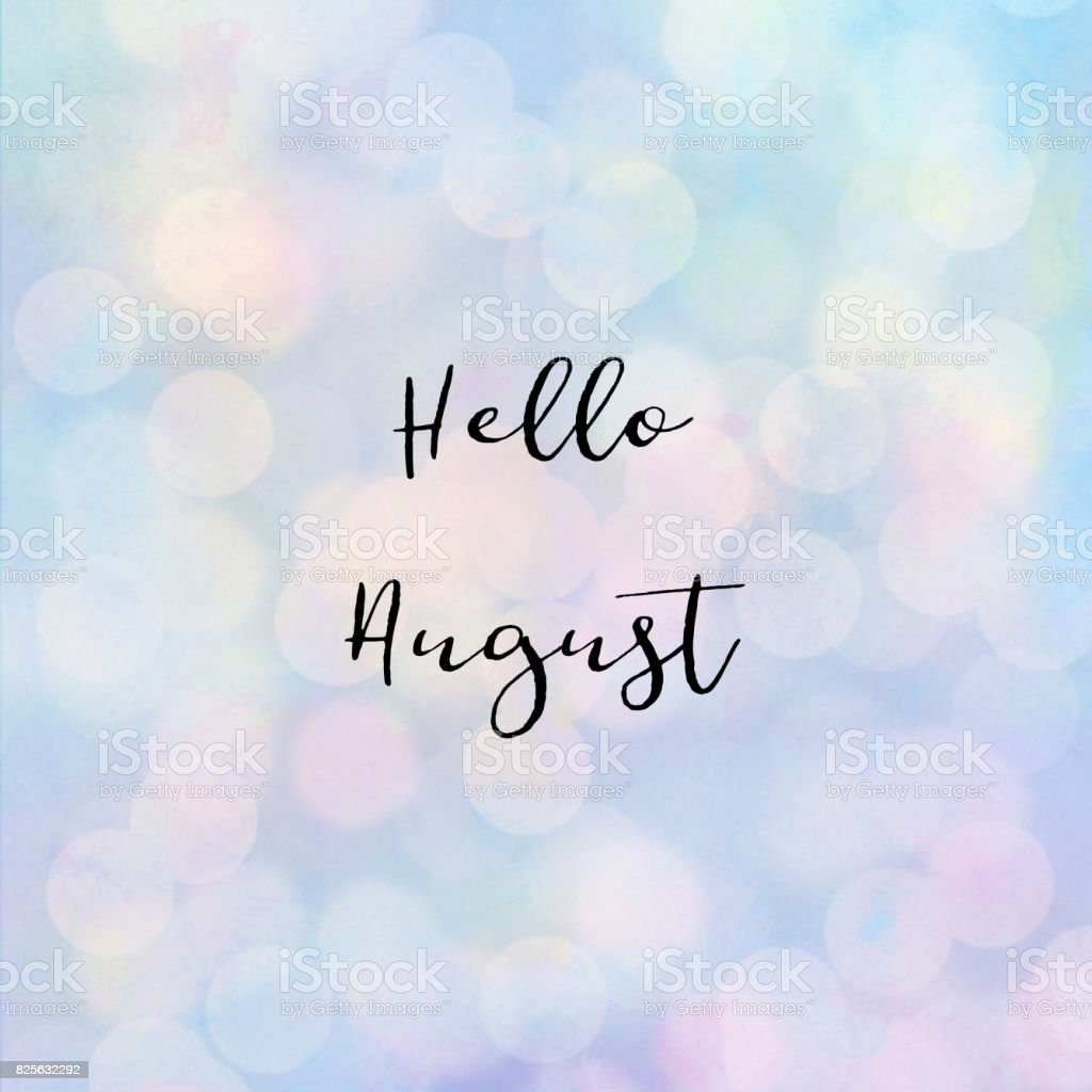 Hello August text with bokeh light - foto stock