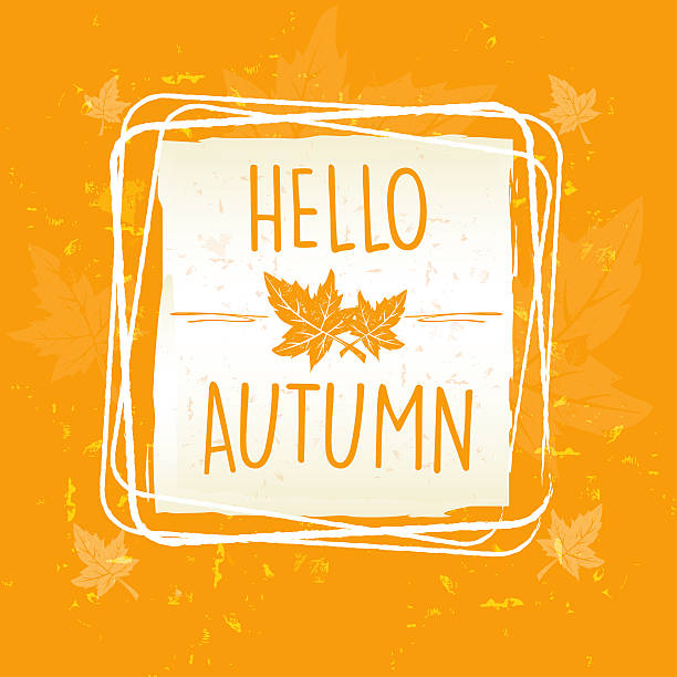hello autumn in frame with leaves, old paper background - hello stock-fotos und bilder