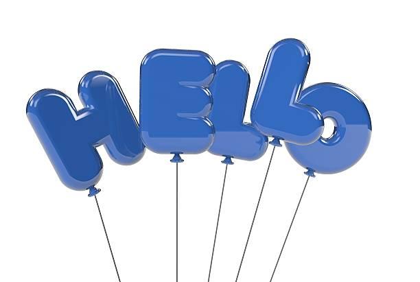 Hello balloons stock photo