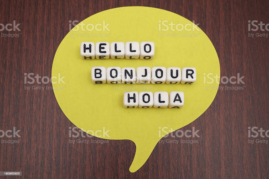 Hello Bonjour Hola stock photo