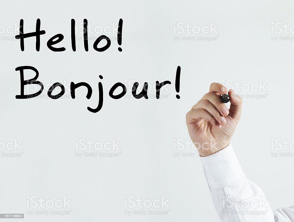 Hello! Bonjour! royalty-free stock photo