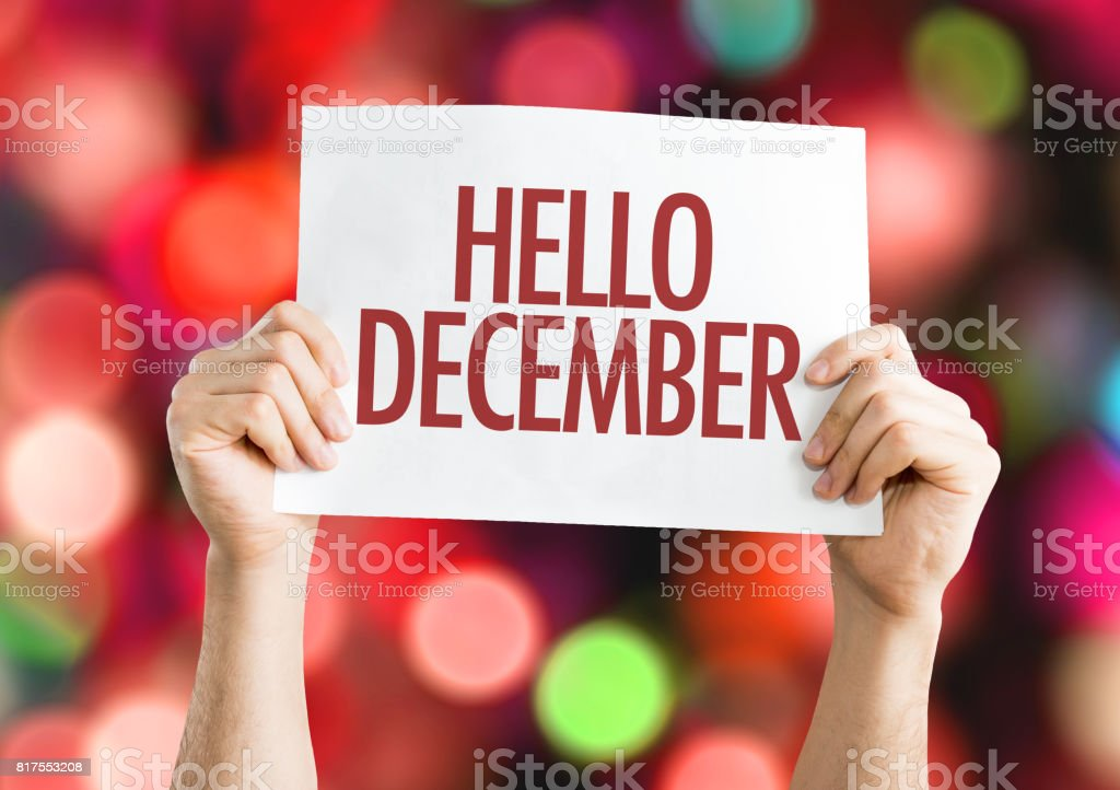 Hello December stock photo