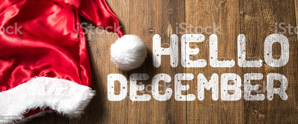 Hello December sign stock photo