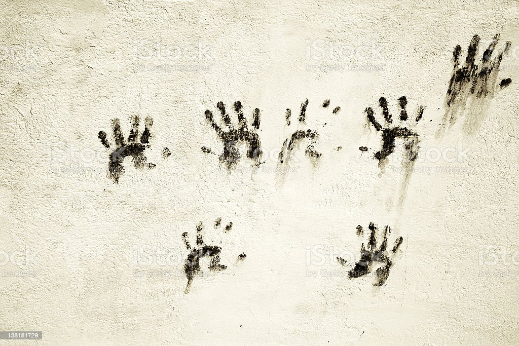 Hello everyone- Wall painted with  hands royalty-free stock photo