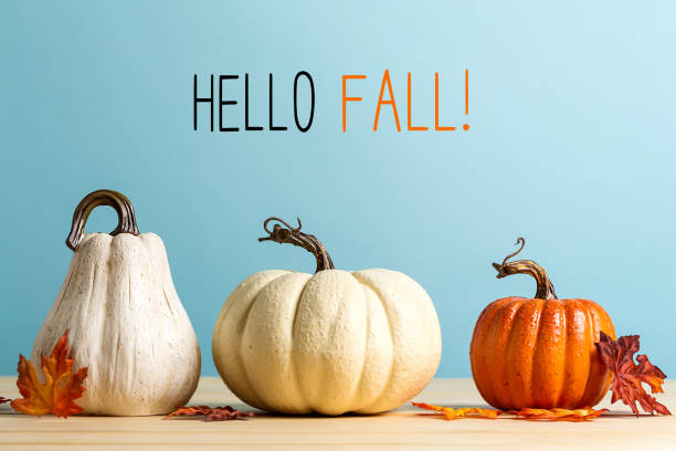 Hello fall message with pumpkins