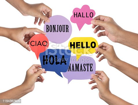 Hello greeting in languages and group of hands