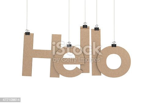 A  3D representation of the word hello hanging on a plain white background. The word is hanging from binder paper clips that are attached to a piece of string. The letters have a cardboard texture. The background is pure white. All letters are available and can be combined to form words.