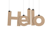 istock Hello hanging on strings 472109614