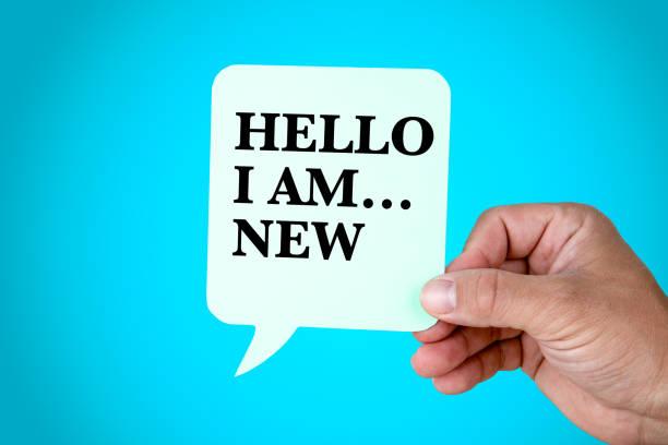 Hello I Am.New, presentation, self introduction stock photo