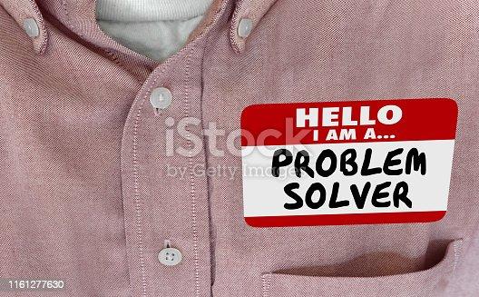 Hello Im a Problem Solver Solution FInder Name Tag 3d Illustration