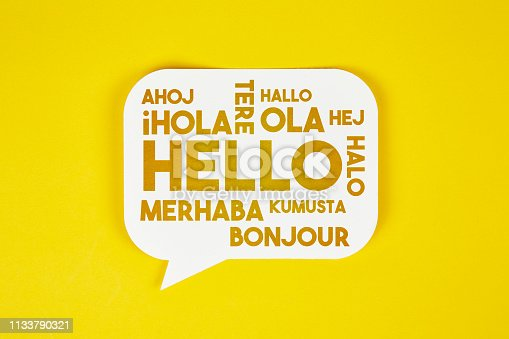 Hello in different languages on yellow background
