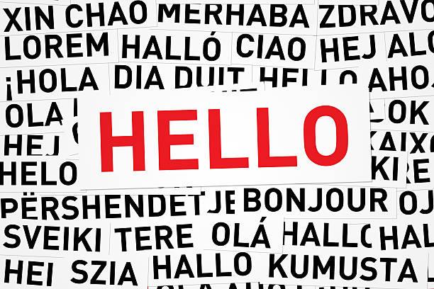 olá, em diferentes idiomas - standing out from the crowd (expressão inglesa) - fotografias e filmes do acervo