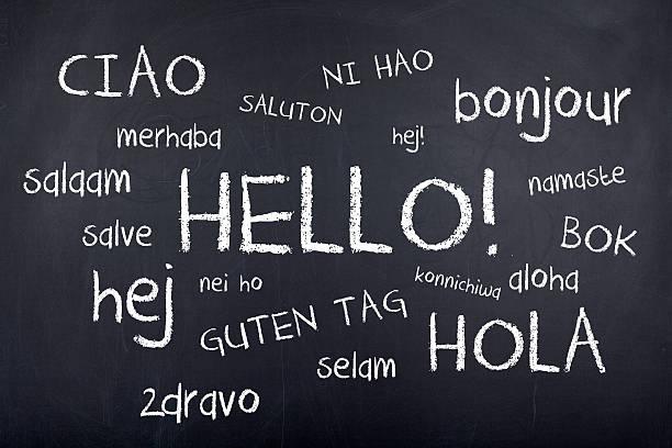 hallo in verschiedenen sprachen - hello stock-fotos und bilder