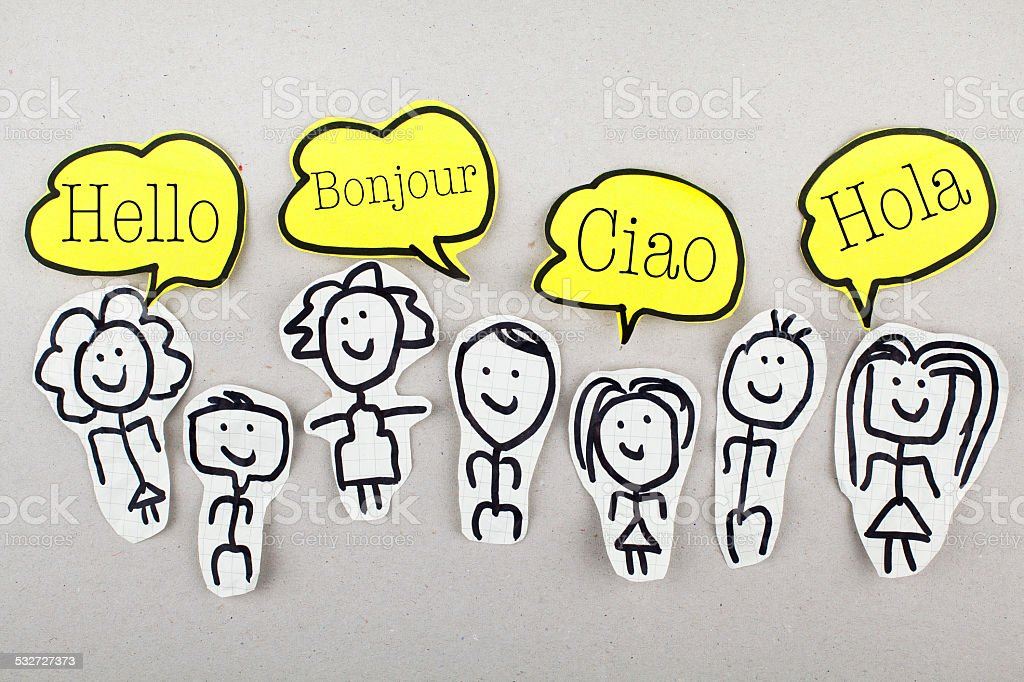 Hello in Different Languages Sketch people with hello in four languages 2015 Stock Photo