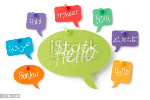 Hello handwritten in eight different languages on colourful card speech bubbles pinned to a white surface. Isolated on a pure white background, no dot in the white area so no need to cut-out e.g. can be dropped directly on to a white web page seemlessly.