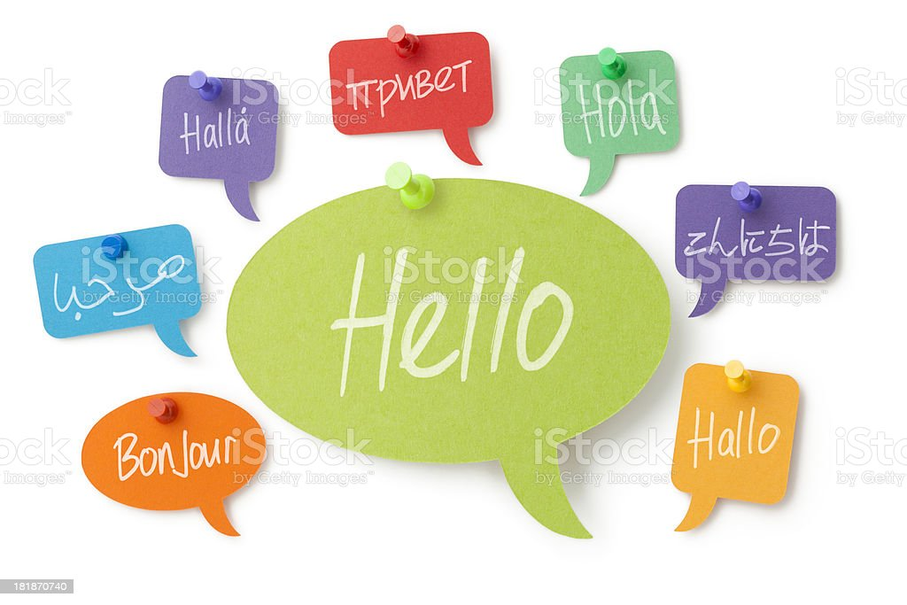 Hello in eight different languages on colourful speech bubbles stock photo
