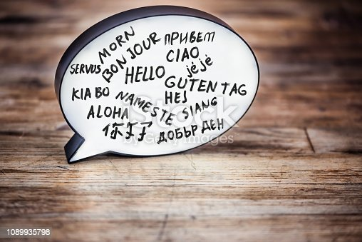 Lightbox in form of a Speech bubble on wood desk showing the word Hello in many languages.