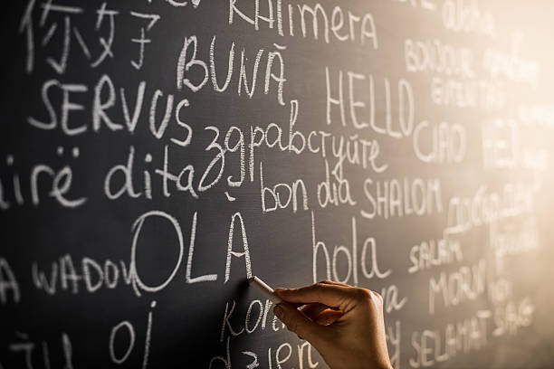 hello in many languages - translator stock photos and pictures