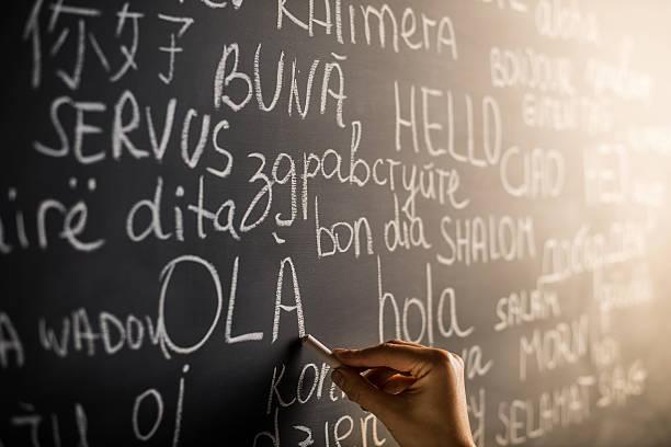 hallo in verschiedenen sprachen - spanisch translator stock-fotos und bilder