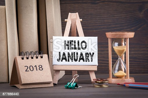 istock hello january. Sandglass, hourglass or egg timer on wooden table showing the last second or last minute or time out 877886440