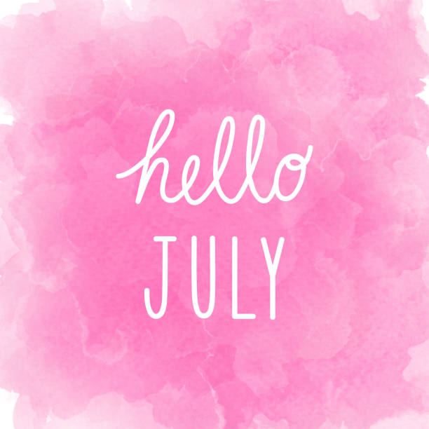 hello july greeting on abstract pink watercolor background - july stock photos and pictures