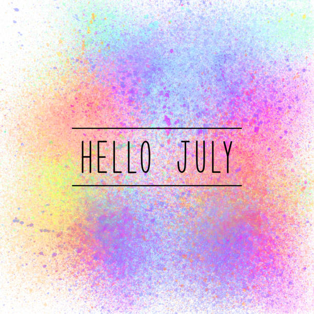 hello july text on spray paint background - july stock photos and pictures